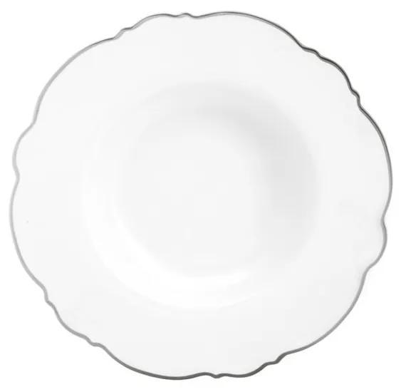 Jogo Pratos Fundos Porcelana 6 Peças Maldivas Branco Fio Prateado 23cm 35377 Wolff