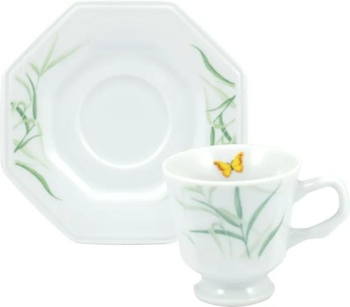 Xicara Café com Pires Porcelana Real by Schmidt - Dec. Eliana