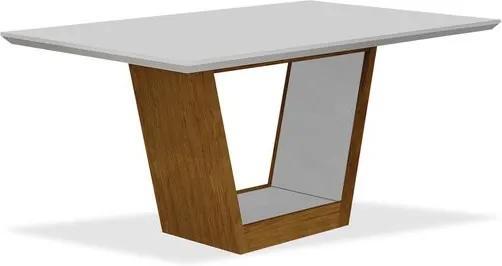 Mesa de Jantar 6 lugares, Imbuia Mel com Branco, Tampo Vidro Branco, Moscou II