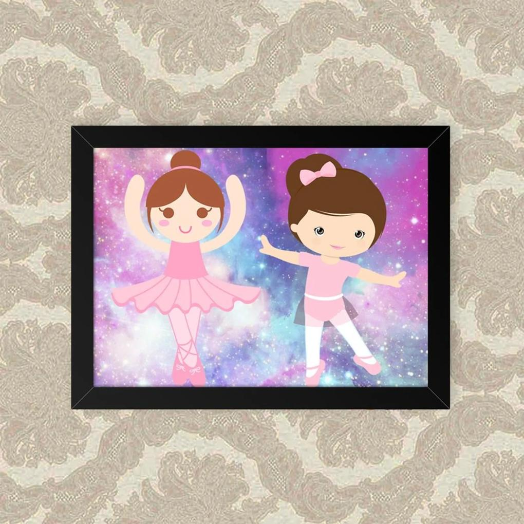 Quadro Decorativo 33x43cm Nerderia e Lojaria balle meninas preto