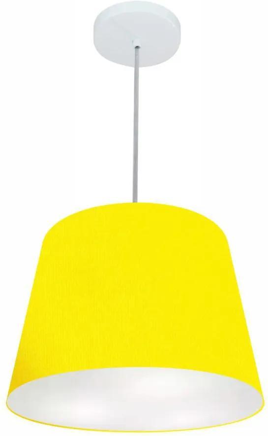 Lustre Pendente Cone Md-4155 Cúpula em Tecido 30/40x30cm Amarelo - Bivolt