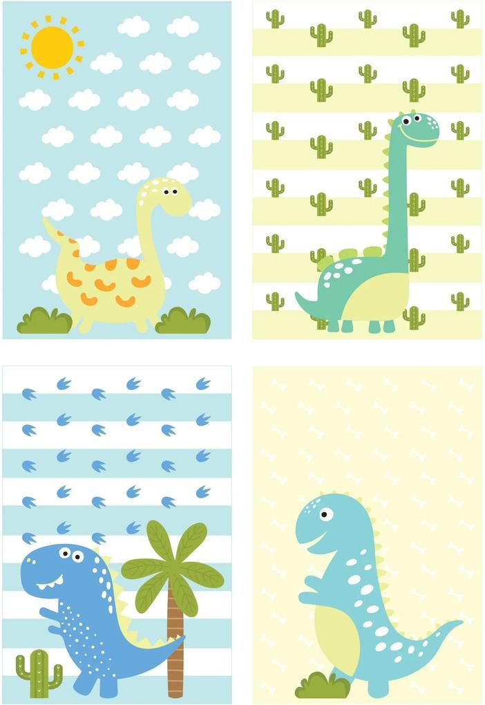 Kit Placa Decorativa MDF Infantil Dinossauro Baby 4un