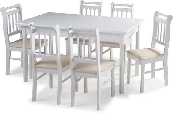 Sala de Jantar Kingston Mesa 150cm e 6 cadeiras - Acabamento Laca PU - Madeira Maciça - Branco