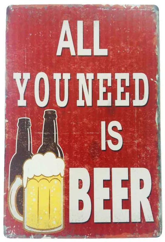 Placa De Metal Decorativa All You Need Is Beer