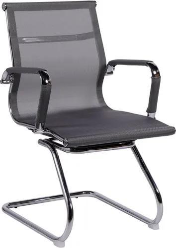 Cadeira  Office Fixa Cinza Tela  Mesh Base Cromada Or Design