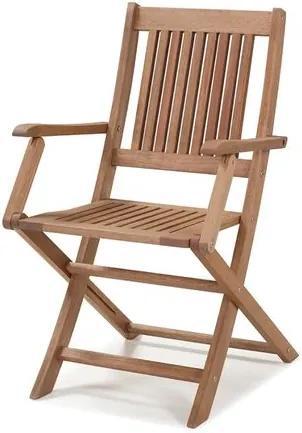 Cadeira Dobrável com Braços para Áreas Externas em Madeira Eucalipto - Maior Durabilidade - Canela