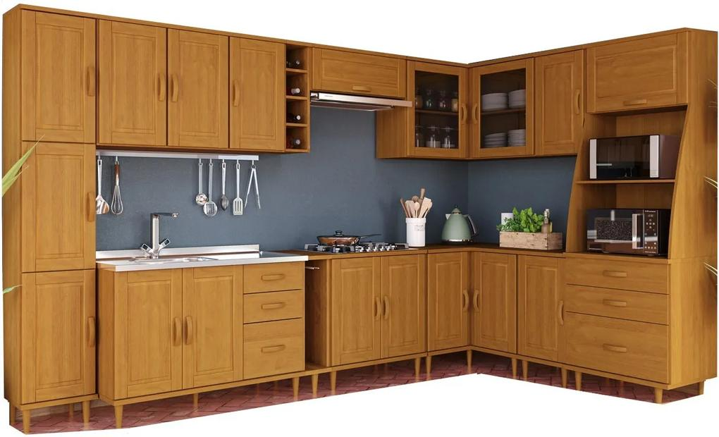 Kit Cozinha Compacta Jade com 12 Módulos - Madeira Maciça -  Cor Nogueira