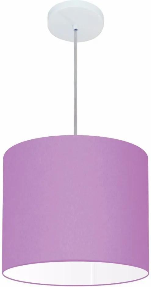Lustre Pendente Cilíndrico Md-4143 Cúpula em Tecido 35x25cm Lilás - Bivolt