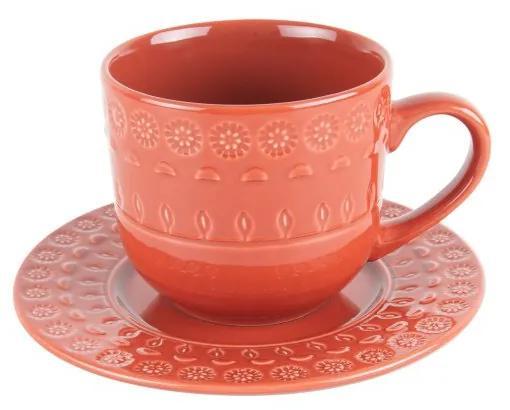 Jogo Xícaras Chá Com Pires Porcelana 4 Peças Grace Carmim 250ml 17586 Wolff