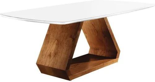 Mesa de Jantar 6 Lugares de Madeira Imbuia/Branco com Tampo de Vidro Branco 1,60m Trekant