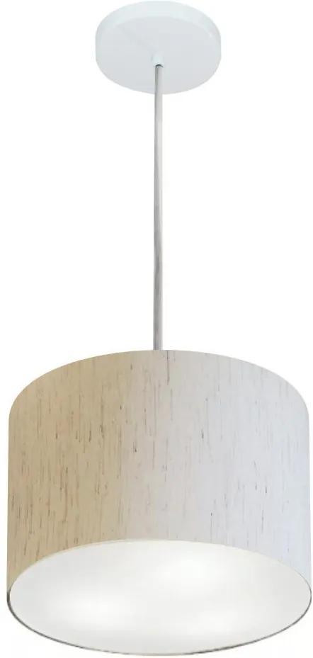 Lustre Pendente Cilíndrico Md-4209 Cúpula Tecido 25x25cm Linho Bege