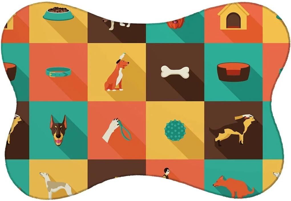 Tapete PET Mdecore Cachorro Colorido 46x33cm