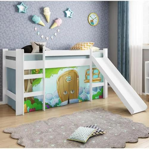 Cama Infantil com Escorregador e Tenda Casinha de Pedra Azul - Casatema