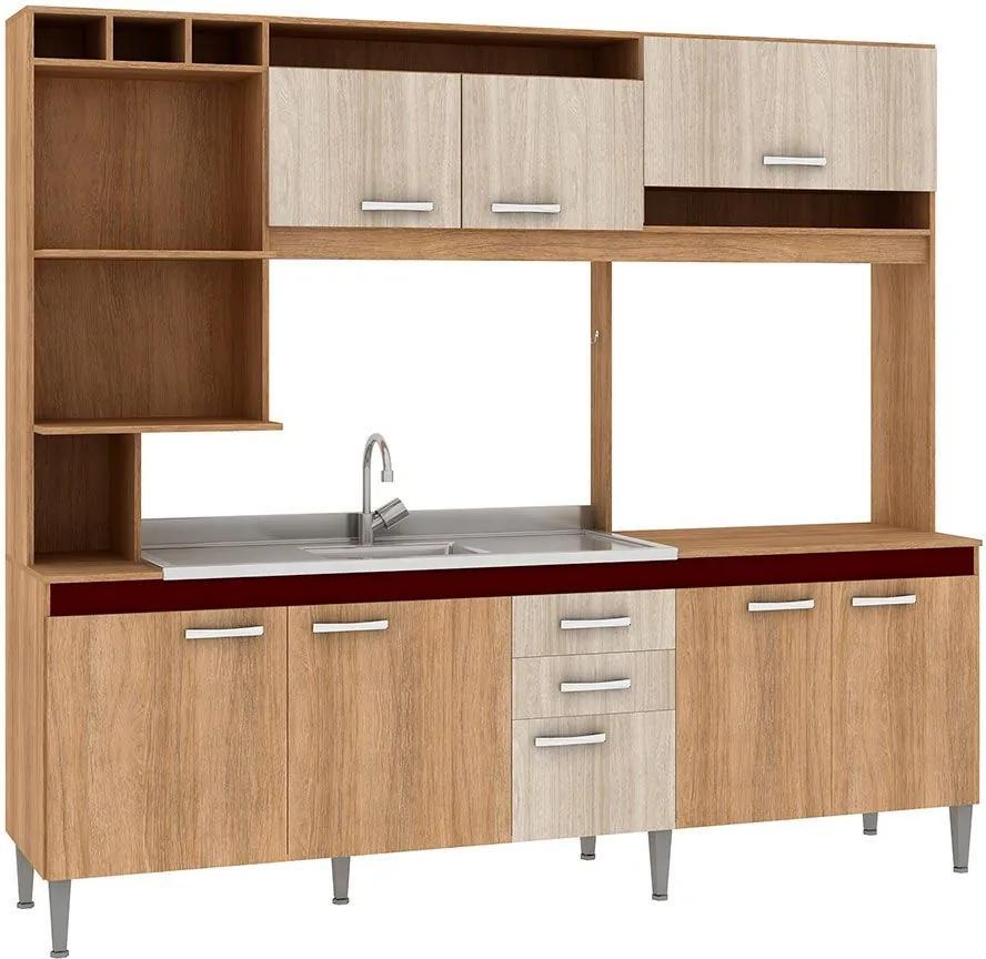 Cozinha Compacta Helen 8 Portas Sem Tampo Carvalho/Blanche/Bordô - Fellicci