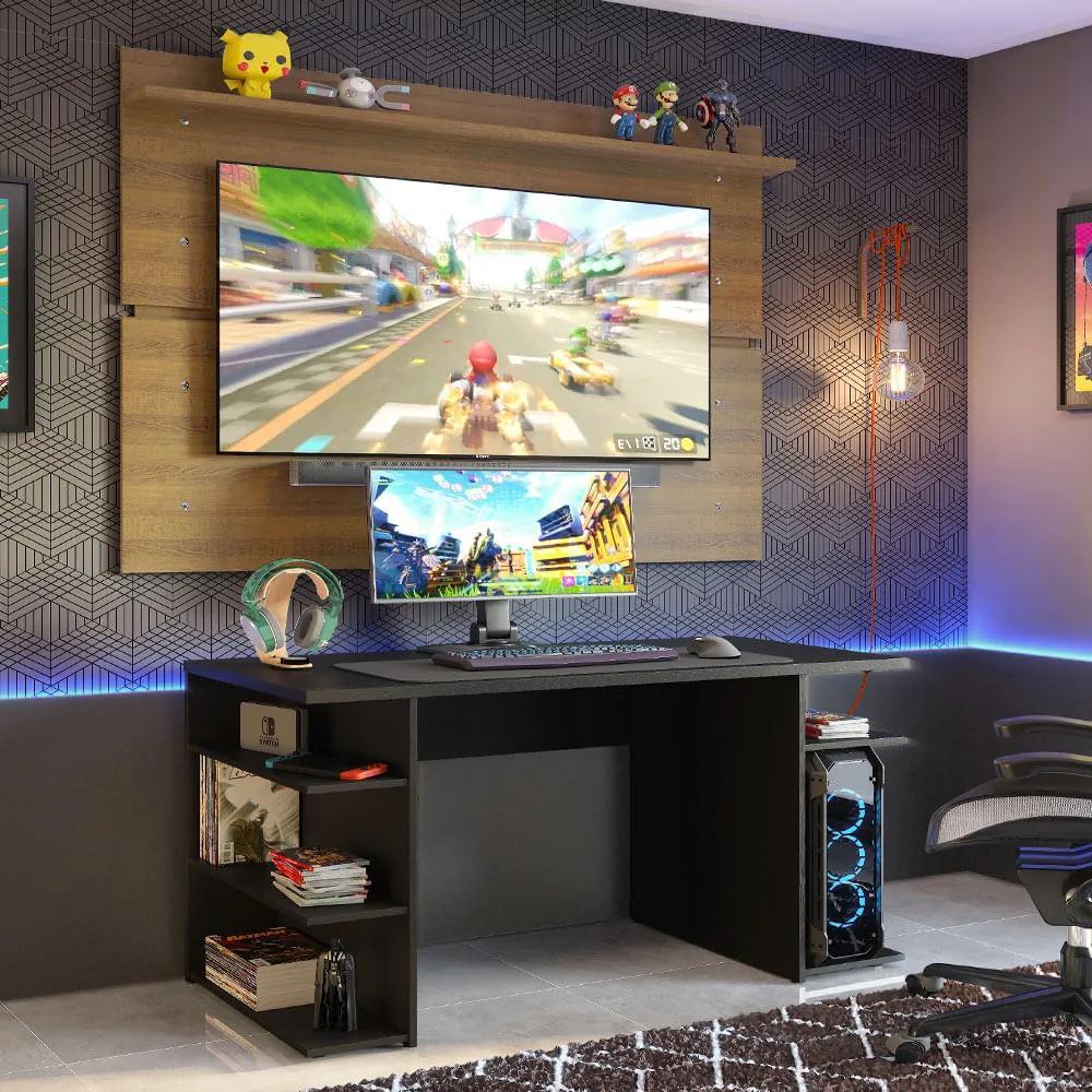Mesa para Computador Gamer Madesa 9409 e Painel para TV até 65 Polegadas Preto/Rustic Cor:Preto/Rustic