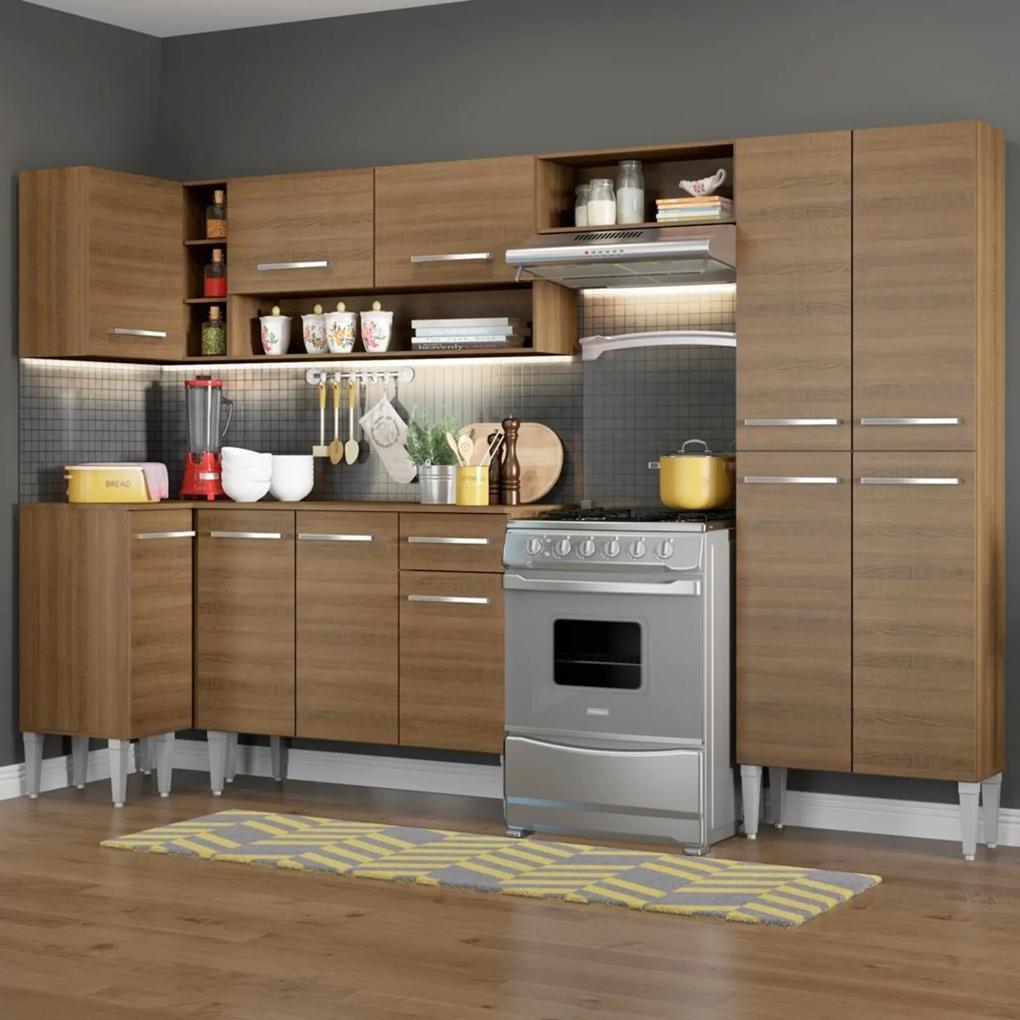 Cozinha Completa de Canto Reto Madesa Emilly Sun com Armário e Balcão 11 Portas 1 Gaveta Marrom