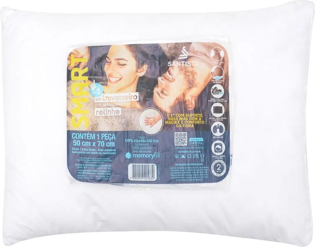 Travesseiro Santista Smart Rolinho 50x70cm Branco