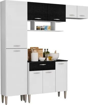 Cozinha Compacta Cris com Balcão Branco com Linho Branco e CP Linho Preto - Kit's Paraná