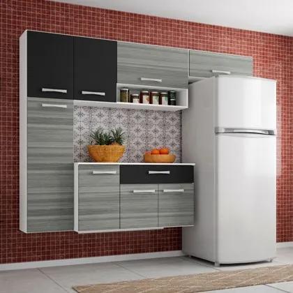 Cozinha Compacta Suspensa com Balcão Anita 08 Portas Branco - Poquema