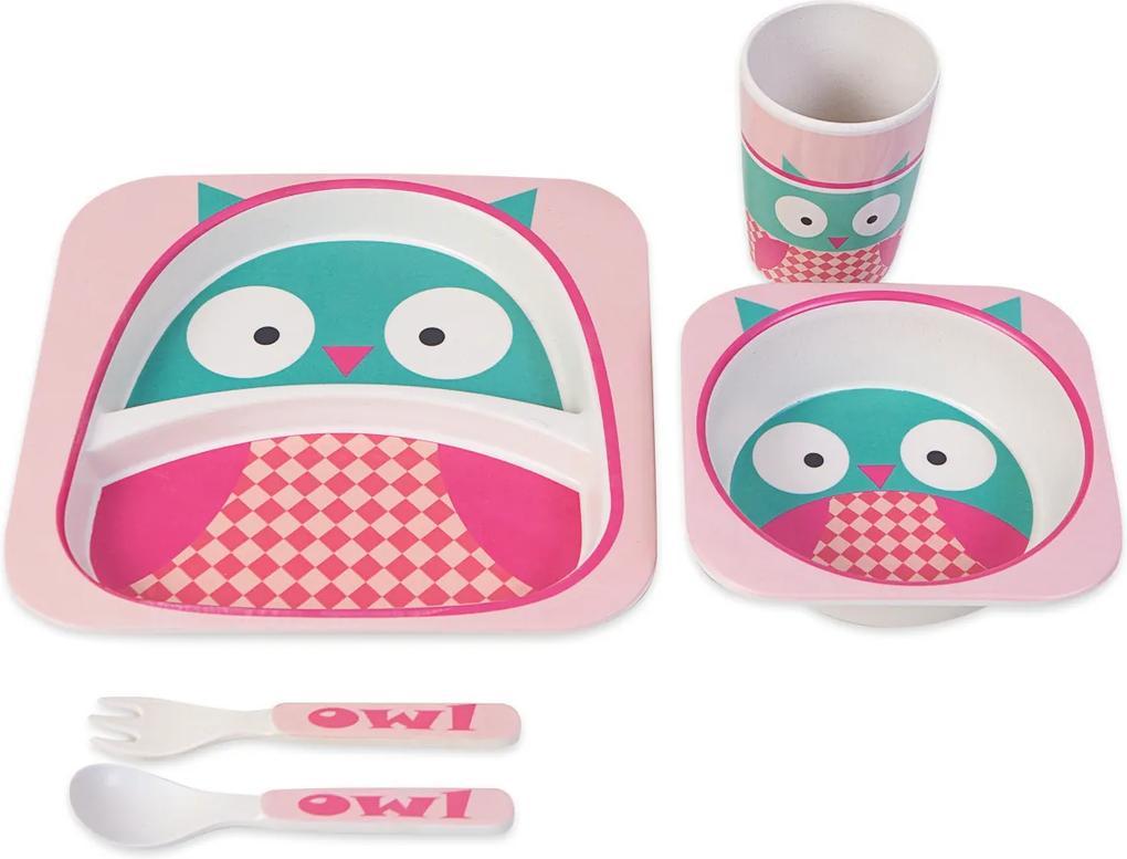 Kit de Alimentação Infantil Coruja Rosa Único