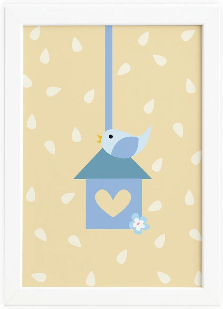 Quadro Coruja Baby Azul Passarinho Moldura Branca 22x32