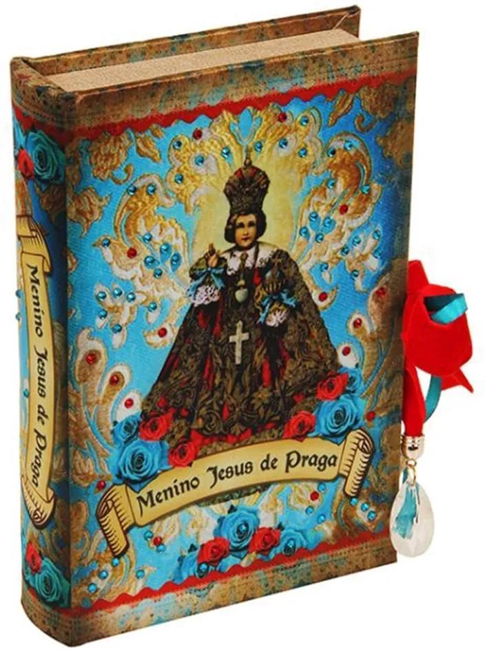 Book Box Menino Jesus de Praga em Madeira - 24x15 cm