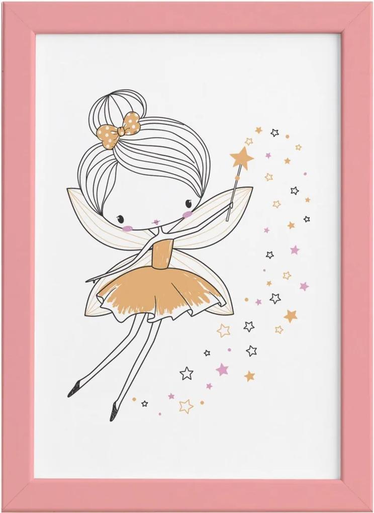 Quadro para Quarto de Menina Fada Amarela Moldura Rosa 22x32cm