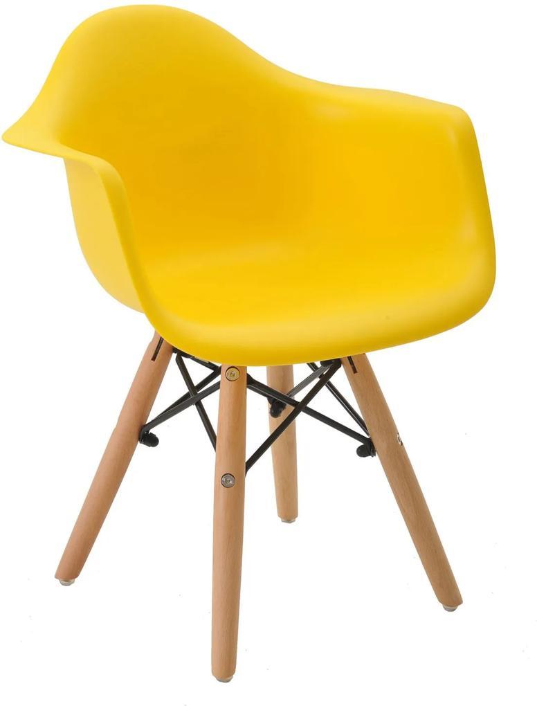 Cadeira Eiffel Infantil Com Braço Amarelo Base MADEIRA Rivatti