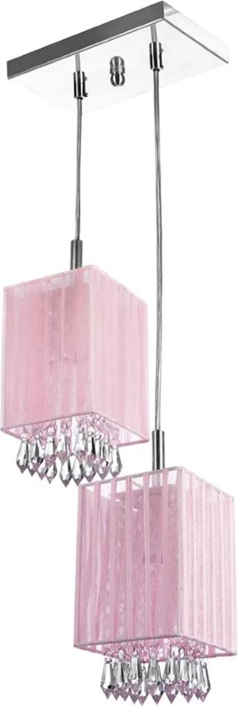 Lustre Sala Cganza Duplo Quadrado Cristal Acrílico Rosa