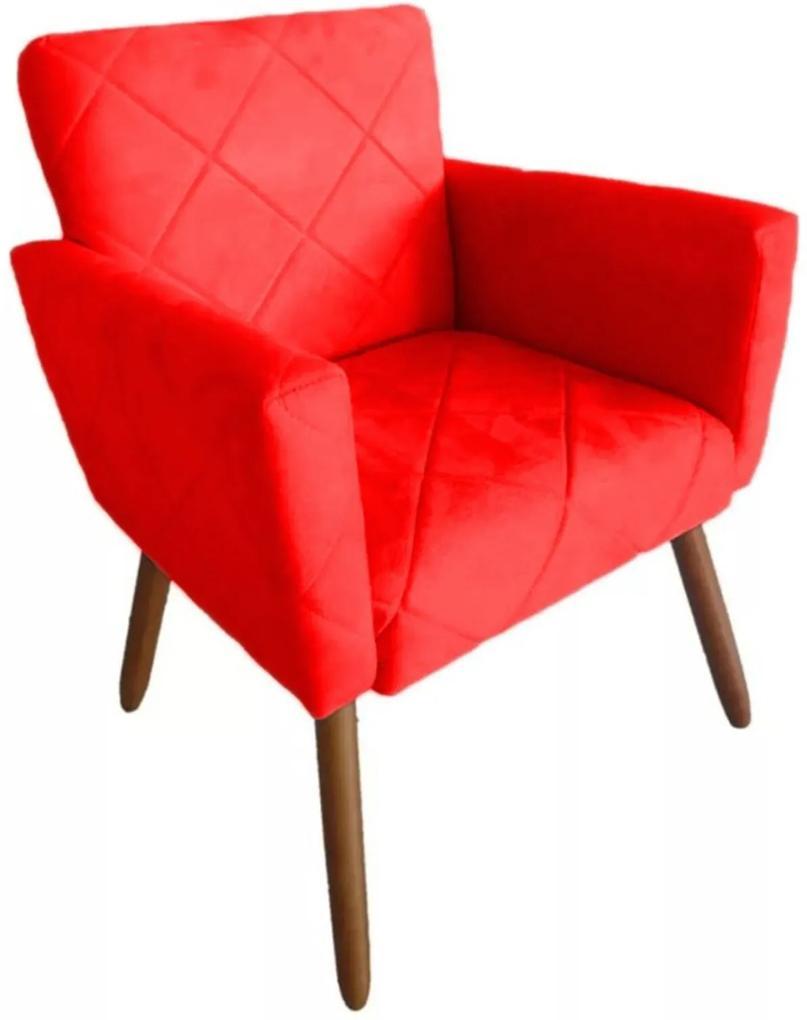 Poltrona Decorativa Pés Palito Nina Estilo Costura Vermelho - DS Móveis