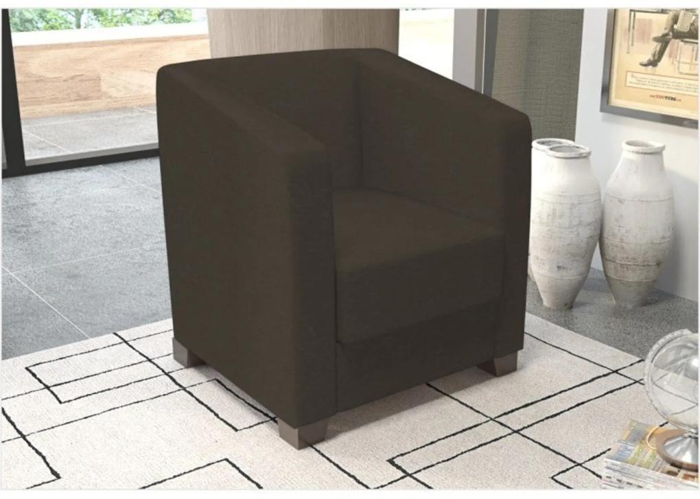 Poltrona Decorativa Valéria com Pés em PVC Suede Amassado Chocolate - JS Móveis