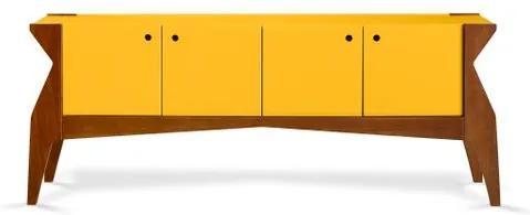 Buffet Brasa 4 Portas Cor Cacau Com Amarelo - 29361 Sun House