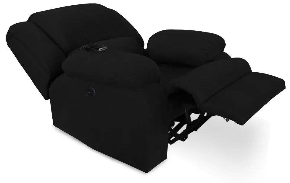 Poltrona Decorativa Magnum Reclinável Elétrica com Massagem Suede Preto