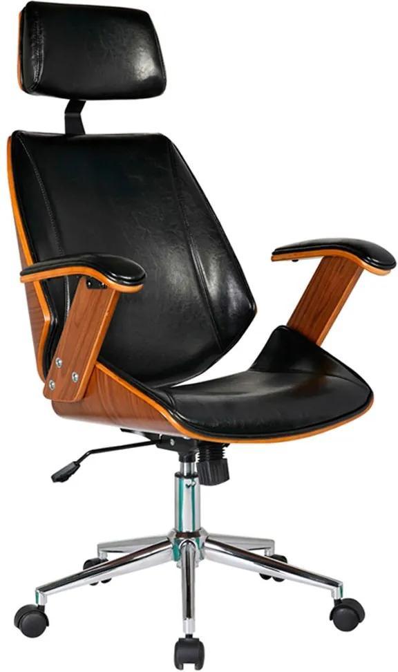 Cadeira de Escritório Presidente Giratória com Regulagem de Altura Akon PU Preto - Gran Belo