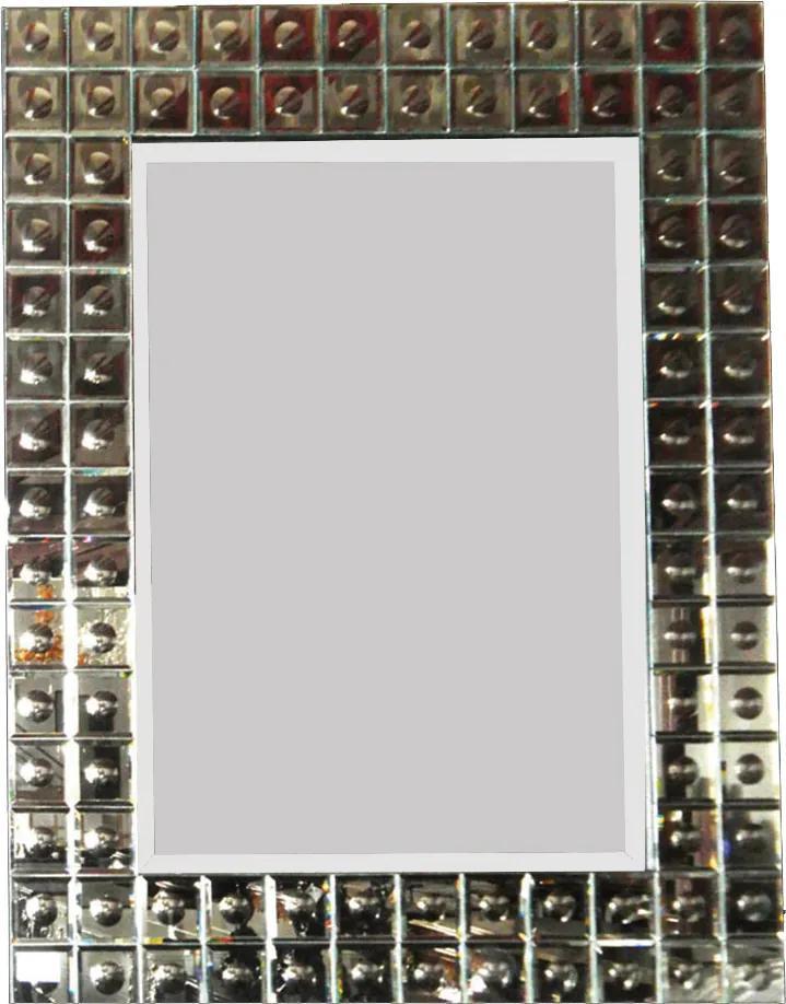 Espelho Quadrado com Corte Bisotê em Moldura Espelhada - 95x5x76cm