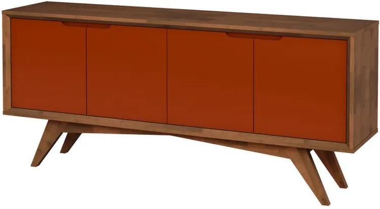 Buffet Querubim 4 Portas Pinhão e Marrom - Wood Prime MP 27603