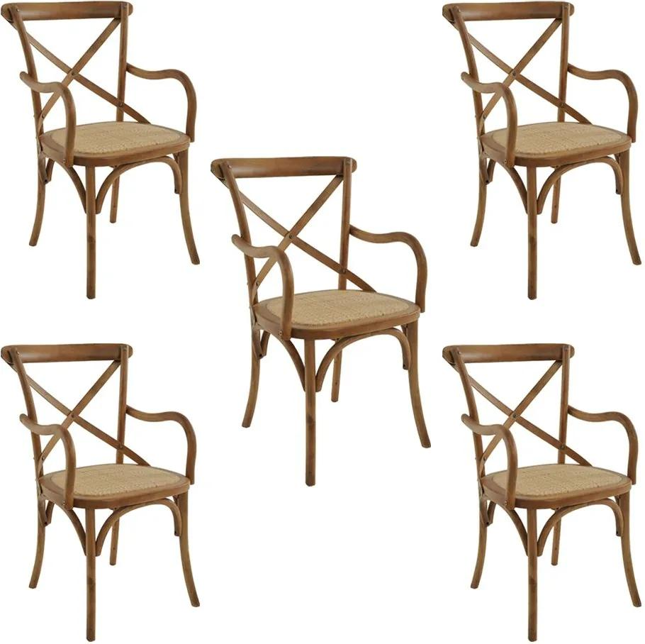 kit 5 Cadeiras Decorativas Sala de Jantar Cozinha Danna com Apoio Rattan Natural Bétula - Gran Belo
