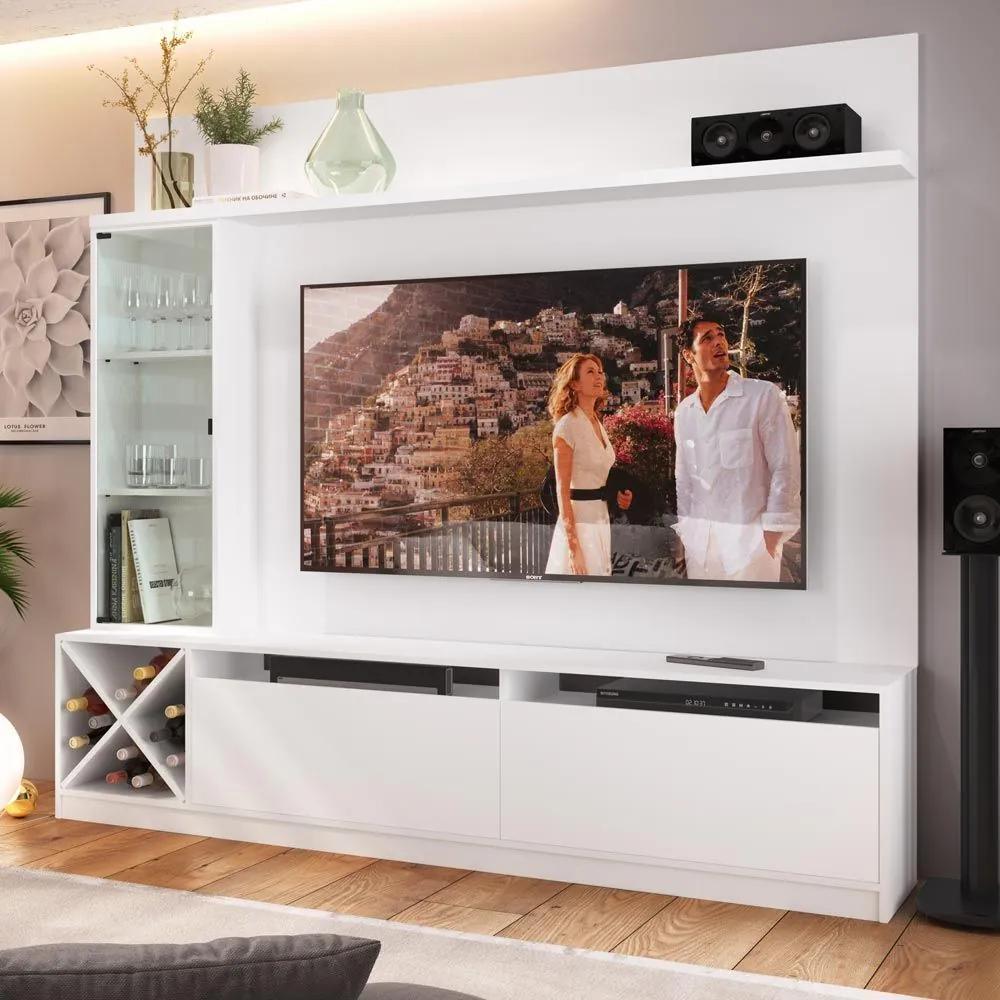 """Estante para TV Até 60"""" 3 Portas 2020 Bac Branco - Quiditá Móveis"""