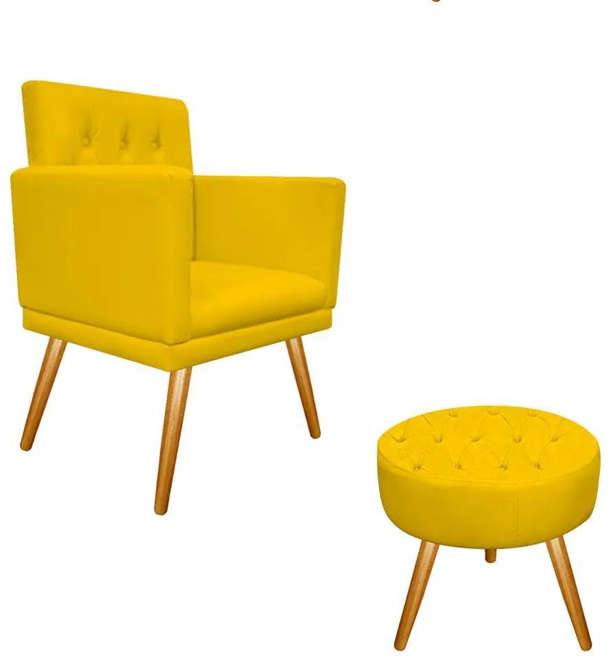 kit Poltrona e Puff Fernanda Palito Mel Corano Amarelo - ADJ Decor