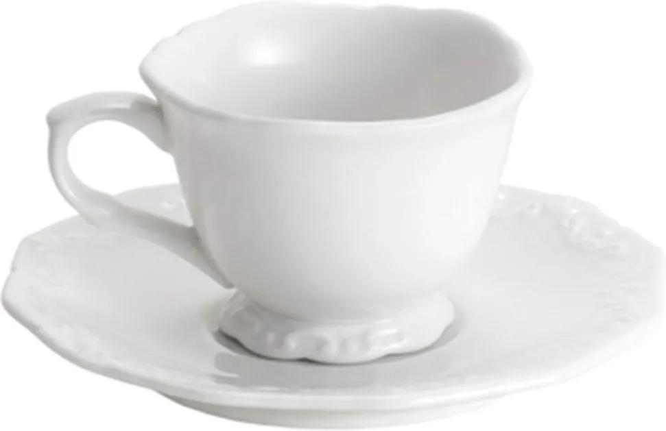 Conjunto 6 Xícaras Para Café Com Pires de Porcelana Wolff 100ml - Alto Relevo