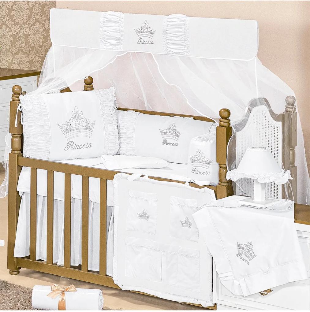 Kit Berço Padroeira Baby Princesa Luxo Branco
