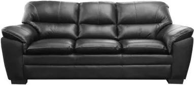 Sofá de Couro Connor 3 Lugares - Preto Pigmentado - Mempra