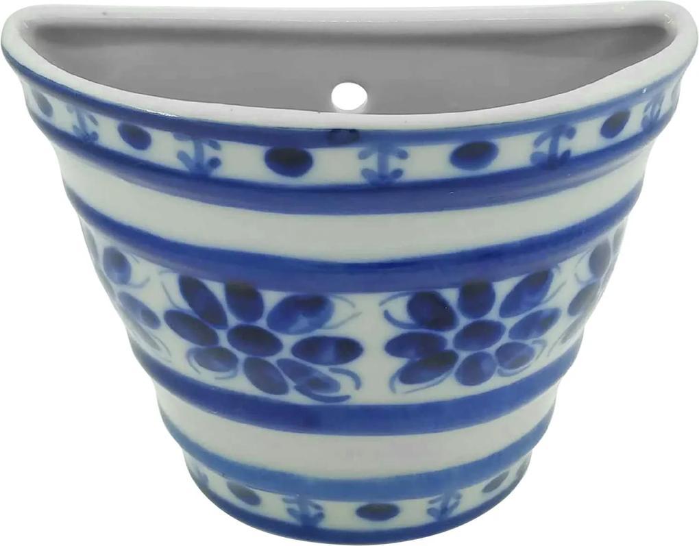 Vaso de Parede em Porcelana Azul Colonial 12 cm (com furo)