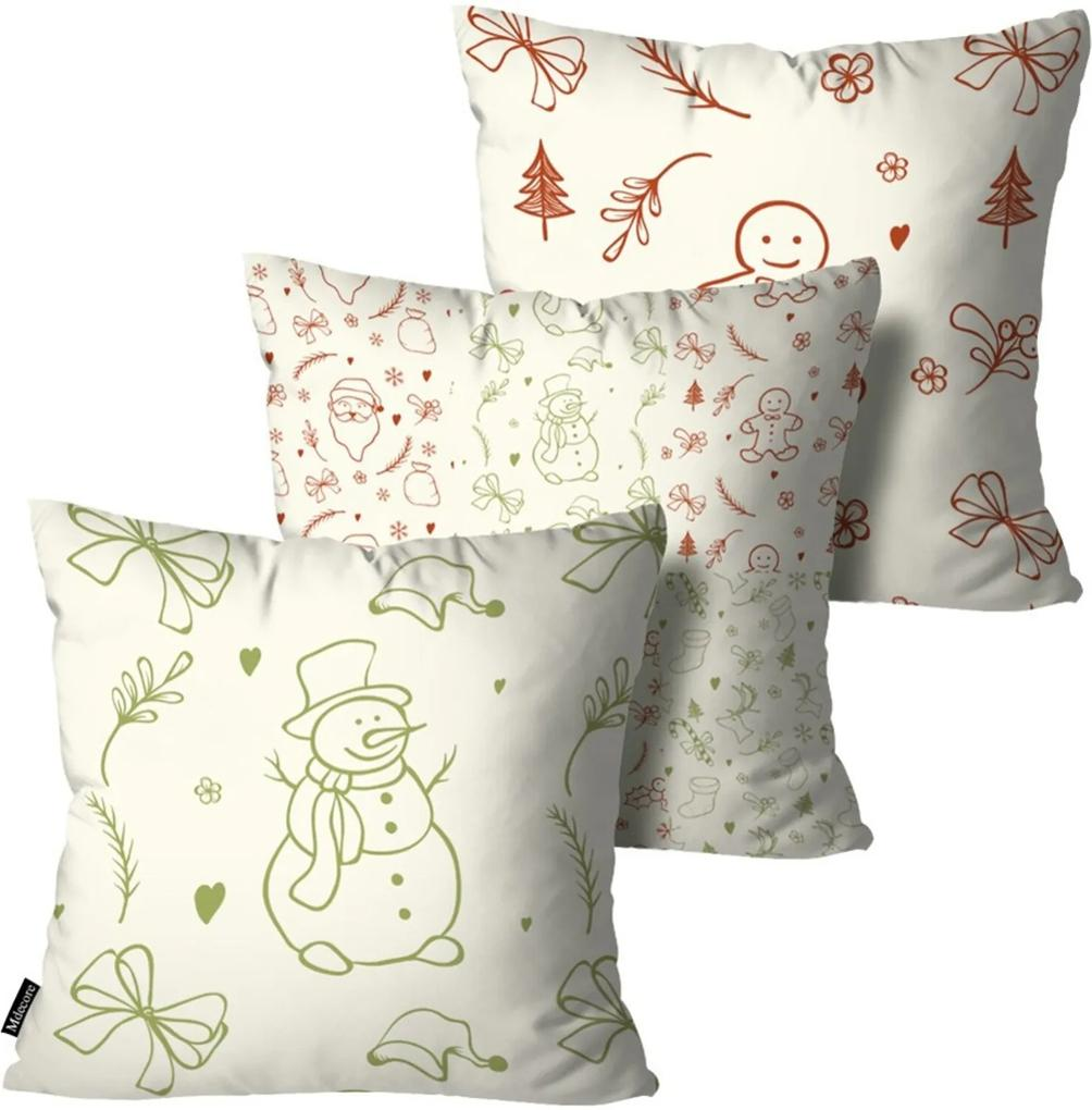Kit 3 Almofadas Mdecore de Natal Decorativas Branca 55x55
