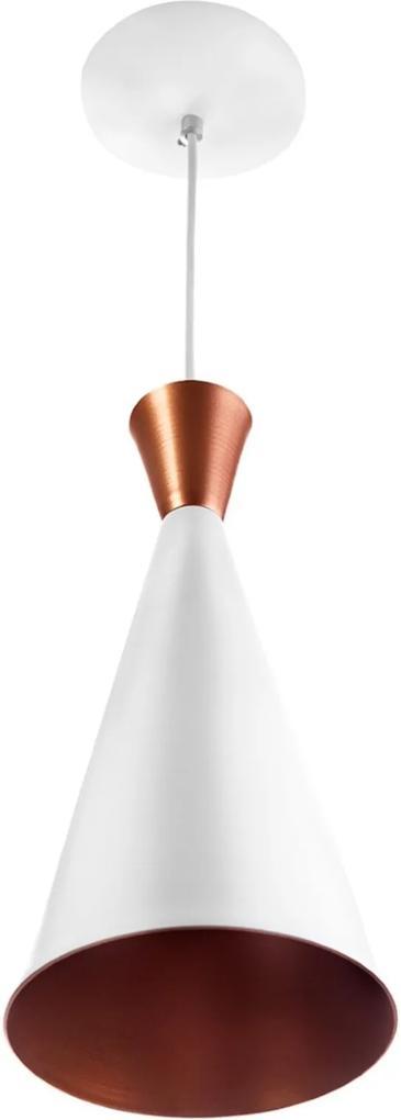Luminária Pendente Cone Aluminio Magnifico 33x15cm Branco