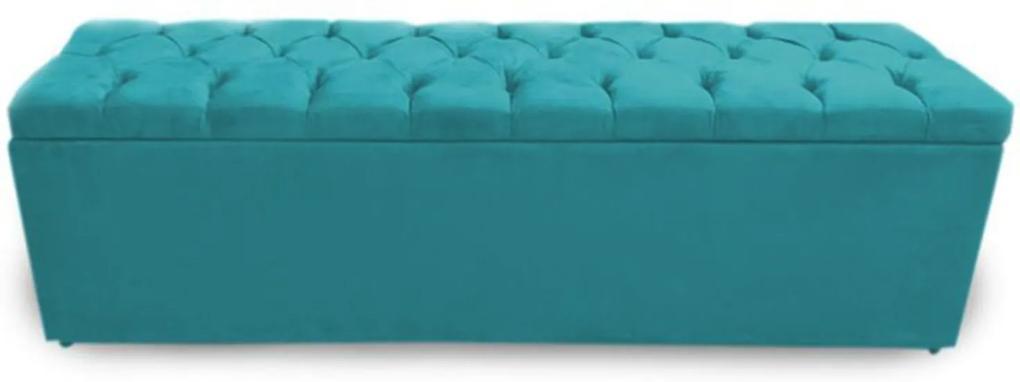 Calçadeira Recamier Baú Casal King 195cm Sofia Suede Azul Turquesa - DS Móveis