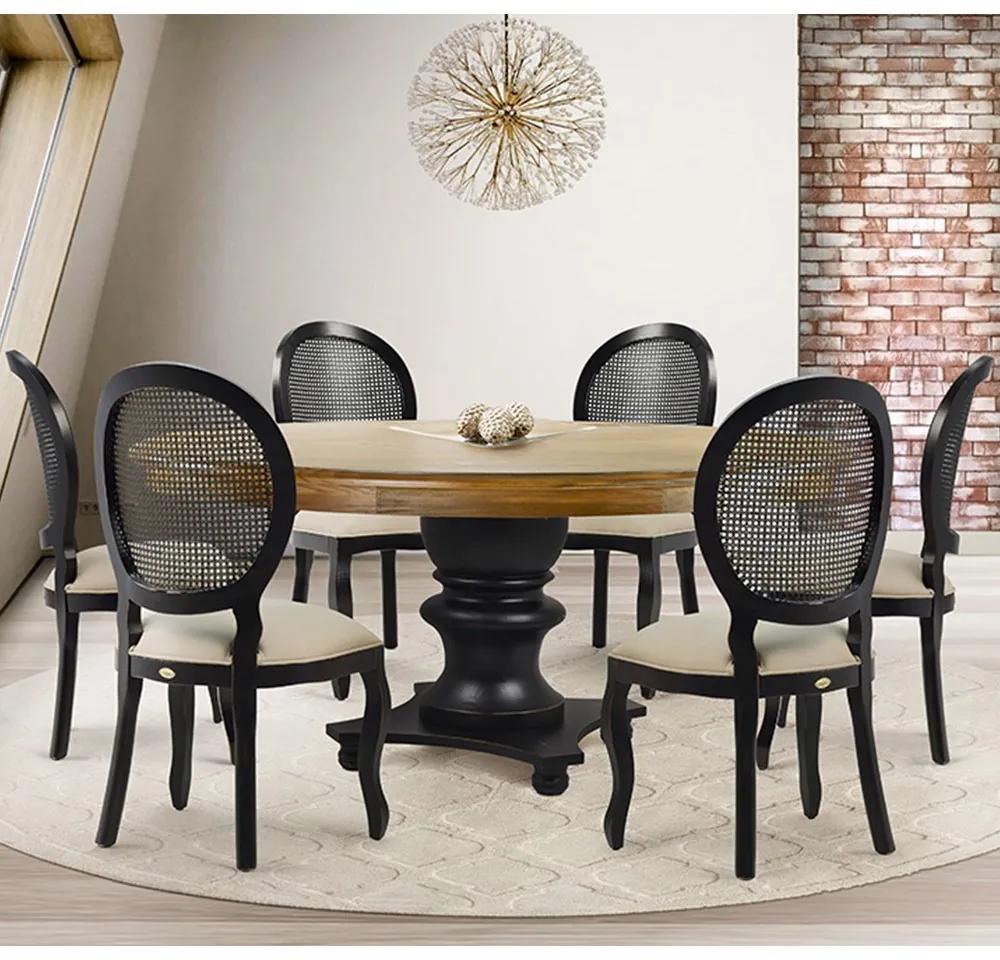 Mesa de Jantar Hill Oregon 160cm com 06 Cadeiras Isla Preto Provençal Linho Bege - Gran Belo