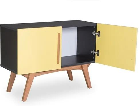 Buffet Preto Medin com 2 Portas Coloridas Amarelo