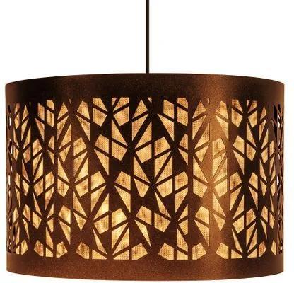 Luminária Pendente Para Sala Redondo | Cúpula de Tecido | Cor: Palha Crua | Tam: 35x20cm | Mod: Mosaic