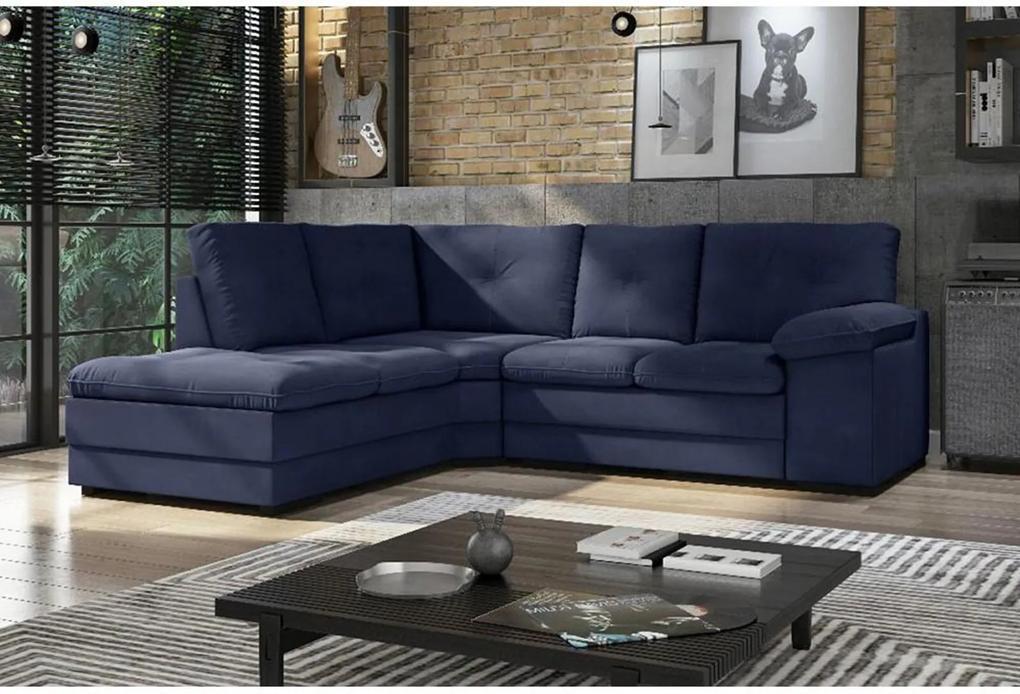 Sofá de Canto Valencia 2,13 mts X 1,37 mts Espuma Soft Tecido Suede Cor Azul Marinho